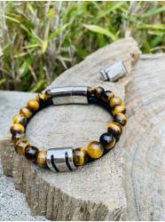 """Bracelet """"Cuir & Pierre""""..."""