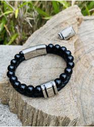 """Bracelet """" Cuir & Pierre""""..."""