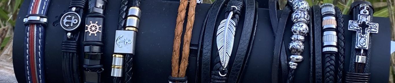 Bracelet pierre et cuir artisanal. Bracelet bois.